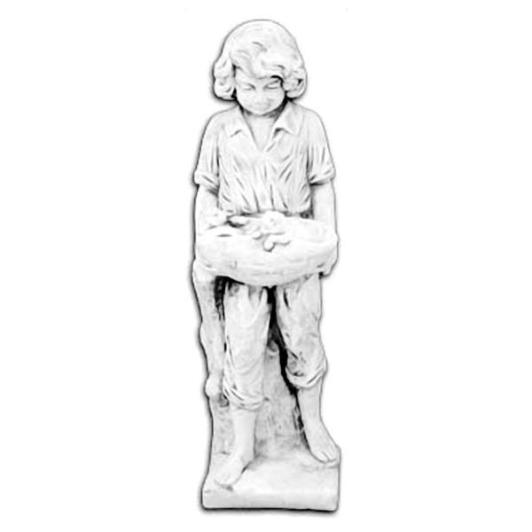 """Скульптура """"Мальчик с котятами в корзине"""""""